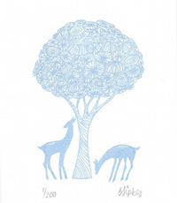 Powder Blue Deer Print