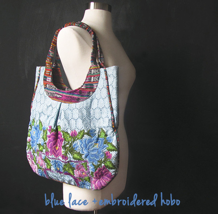 bees'netta blue lace + embroidered hobo
