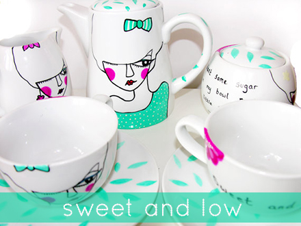 betty raspberry sweet and low tea set