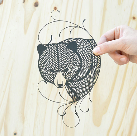 bird mafia bear paper cut