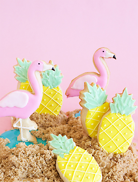 shoes off please pineapple flamingo cookies